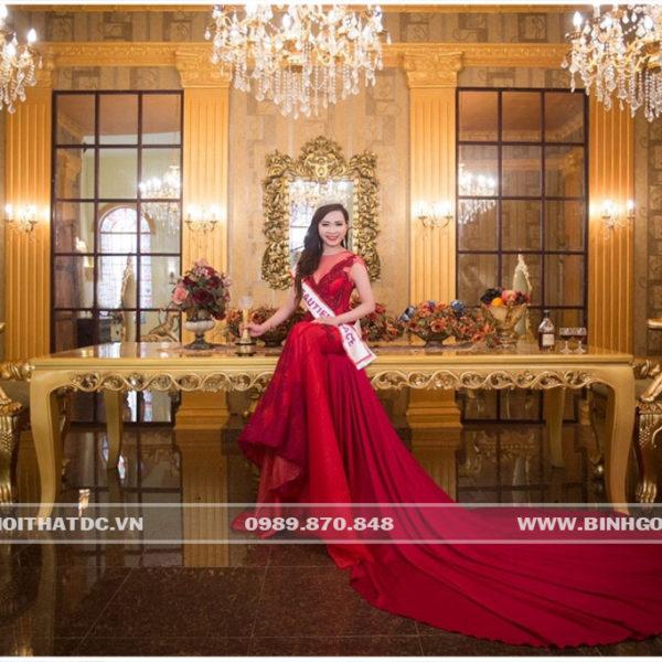 Bộ Bàn ghế phòng khách mạ vàng, dùng làm bàn tiếp khách VIP hoặc bàn tiệc bàn ăn