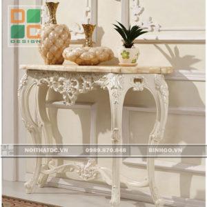 Đôn trang trí tân cổ điển phòng khách sơn trắng