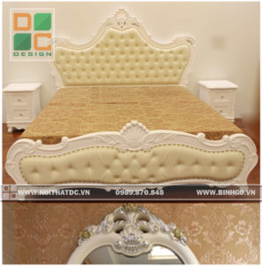 Giường ngủ Tân cổ điển sơn trắng