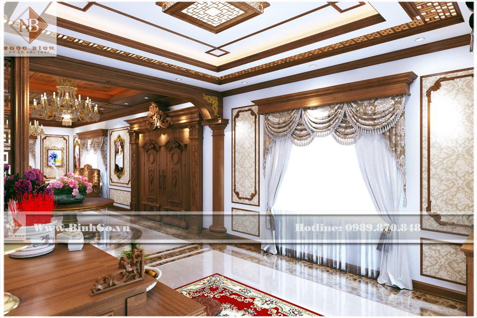 Thi công nội thất biệt thự bằng gỗ gõ đỏ - theo phong cách cổ điển, có pha chút sản phẩm truyển thống của làng nghề thủ công mỹ nghệ cao cấp