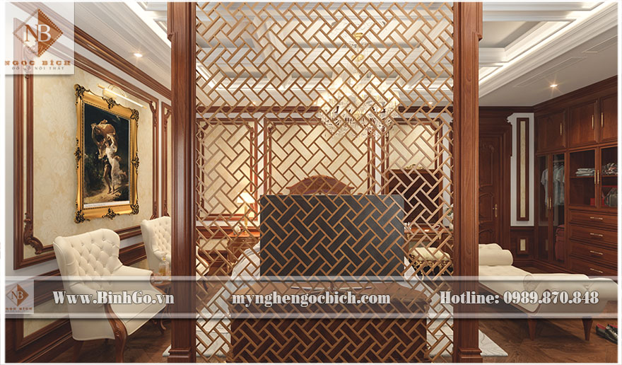 thi công nội thất Phòng ngủ Biệt thự - Thi công nội thất phòng ngủ biệt thự bằng gỗ Gõ Đỏ đẳng cấp