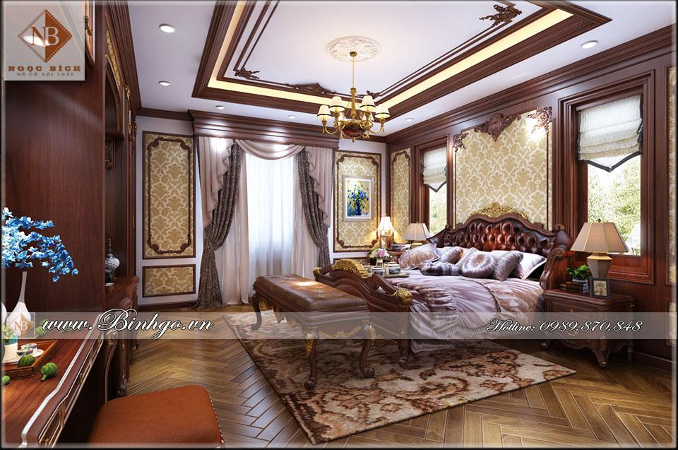 Phòng ngủ Master Biệt thự - Thi công nội thất phòng ngủ biệt thự bằng gỗ Gõ Đỏ đẳng cấp