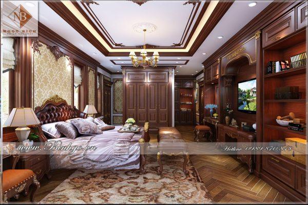 Thi công nội thất biệt thự bằng gỗ Gõ Đỏ