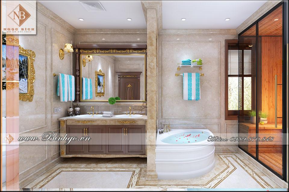 Phòng WC Thi công biệt thự bằng gỗ Gõ Đỏ, kết hợp với đá quý tự nhiên