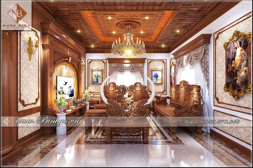 Thi công nội thất biệt thự bằng gỗ gõ đỏ - theo phong cách cổ điển