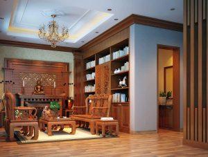 Thi công nội thất biệt thự bằng gỗ tự nhiên
