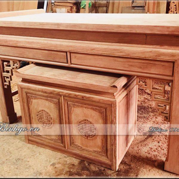 Bàn thờ Gỗ Cẩm thiết kế theo phong cách hiện đại. Kích thước: Rộng217xCao127xSâu107
