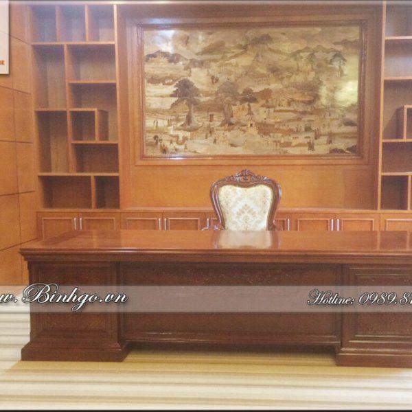 Bàn làm việc của giám đốc ( Bàn làm việc giám đốc gỗ tự nhiên ) làm bằng gỗ Gõ Đỏ sơn PU hoàn thiện