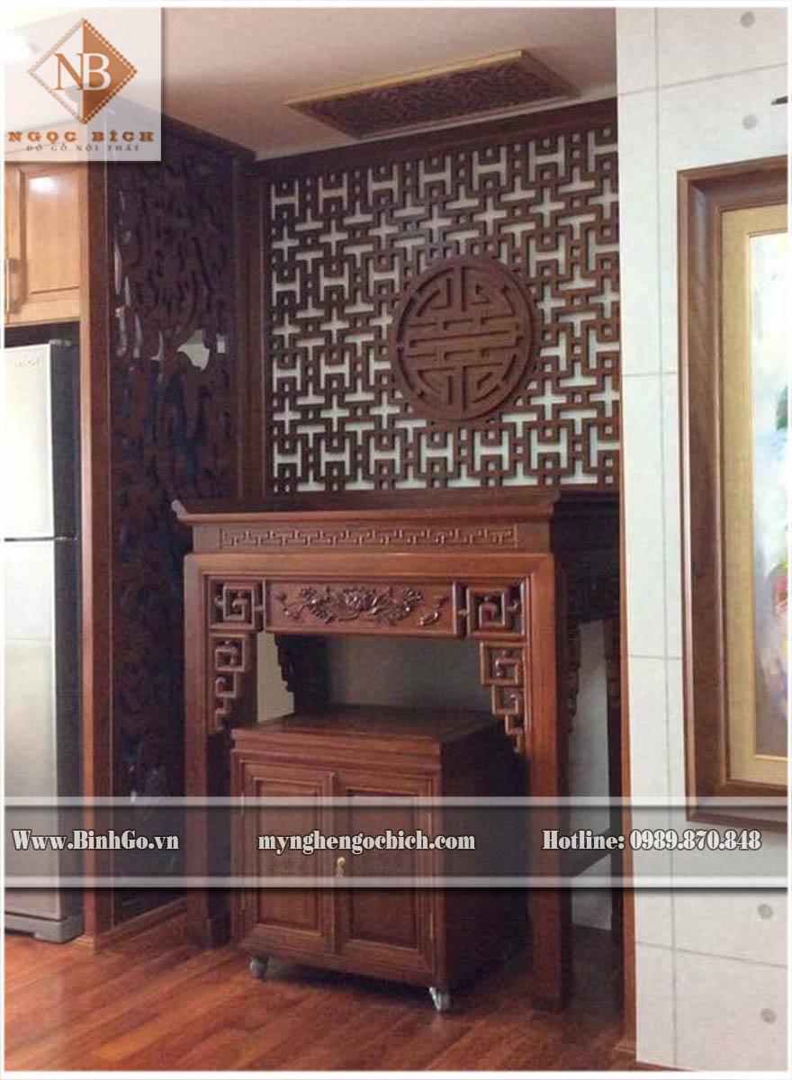 Bàn thờ chung cư cao cấp bằng Gõ Đỏ, Gỗ Hương, Gỗ Cẩm- Kích thước: Rộng 155 x Cao 127x Sâu 81cm. Khu vực thờ ( phòng thờ) >5m2 là phù hợp