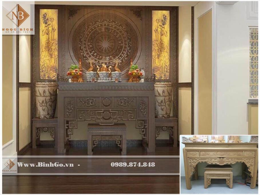 Bàn thờ chung cư cao cấp bằng Gõ Đỏ - Kích thước: Rộng 197 x Cao 127x Sâu 107cm. Khu vực thờ ( phòng thờ) >10m2 là phù hợp