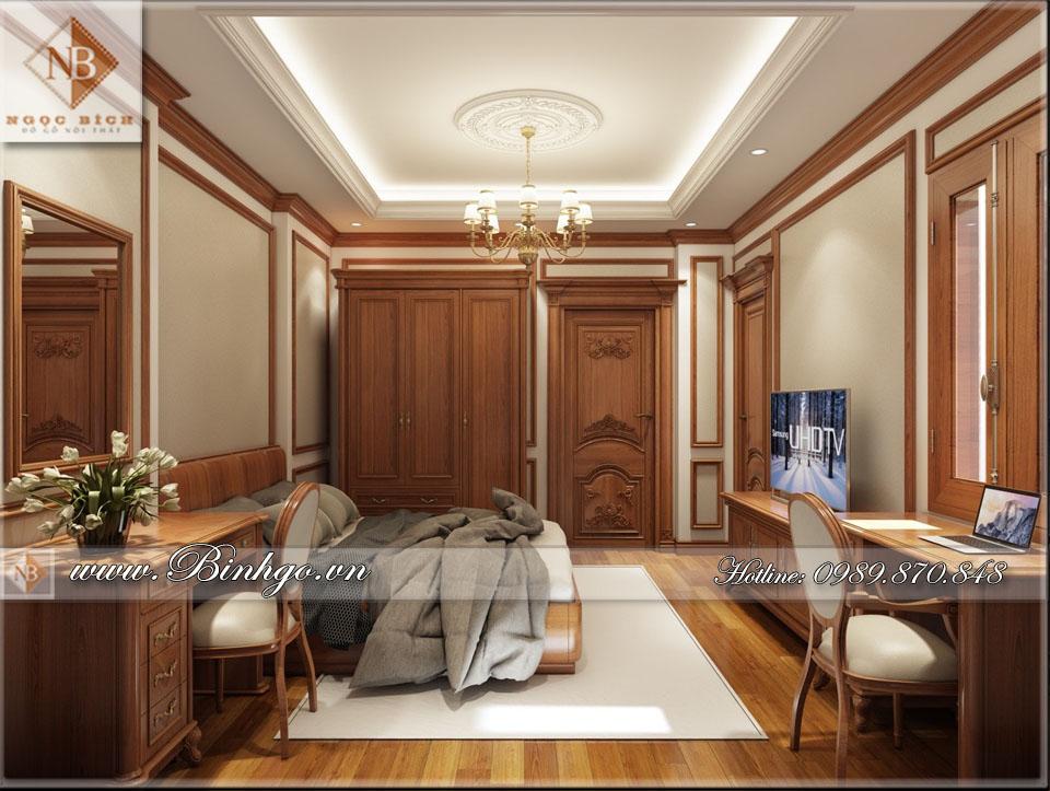 Phòng ngủ Biệt thự Tân Cổ Điển - được làm bằng Gỗ Gõ Đỏ
