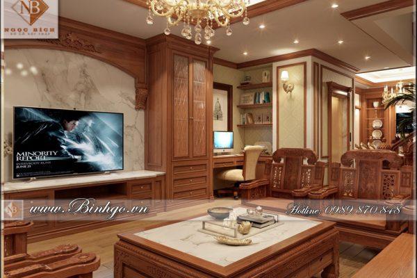 Thi công nội thất Biệt Thự tân cổ điển bằng gỗ Gõ Đỏ