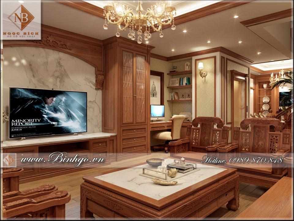 Phòng khách Biệt thự Tân Cổ điển được làm bằng gỗ gõ đỏ