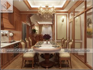 Phòng bếp Biệt thự Tân Cổ điển được làm bằng gỗ gõ đỏ