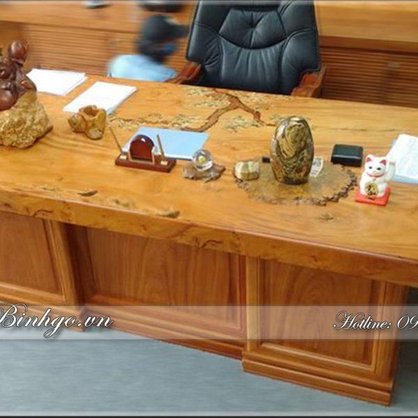 Bàn làm việc mặt nguyên khối gỗ Gõ Đỏ