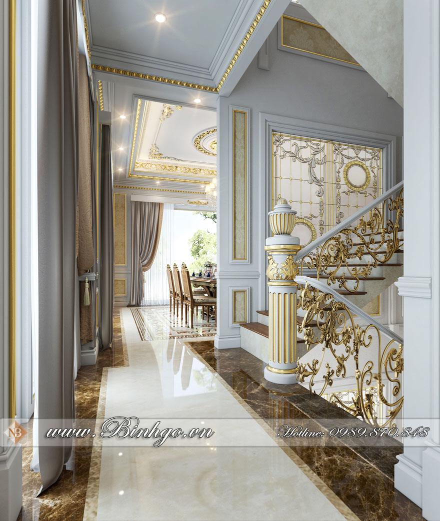 Phổi cảnh 3D Khu vực sảnh ngôi biệt thự Tân Cổ Điển Dát vàng