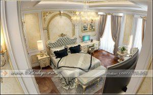 Phòng ngủ thành viên Phòng ngủ khách dự án thi công nội thất biệt thự dát vàng tân cổ điển. Được thiết kế theo phong cách tân cổ điển với chất liệu dùng cho đồ nội thất là gỗ Sồi sơn trắng và dát vàng các hoa văn