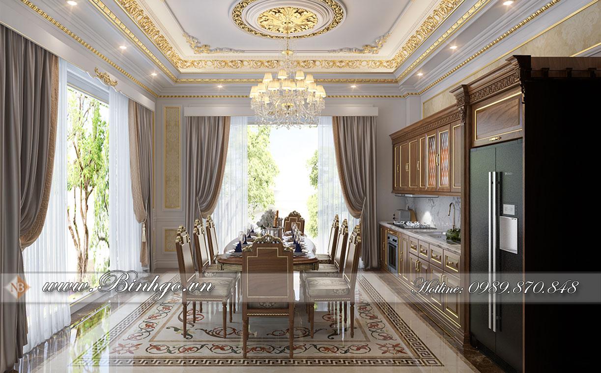 dự án thi công nội thất biệt thự dát vàng tân cổ điển