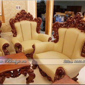 Ghế đơn bộ sofa tân cổ điển gõ Gõ Đỏ, được chạm khắc rất tinh xảo, kỳ công. Mặt ghế, tựa và tay được bộc da.
