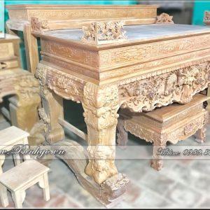 Sập Thờ Nhị Cấp bằng gỗ Gõ Đỏ - Gồm Sập Thờ chân 22cm và bàn Thờ Cao