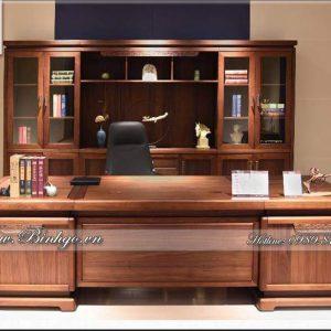 Bàn giám đốc gỗ tự nhiên mẫu hiện đại - làm bằng gỗ: Gõ Đỏ, Sơn PU