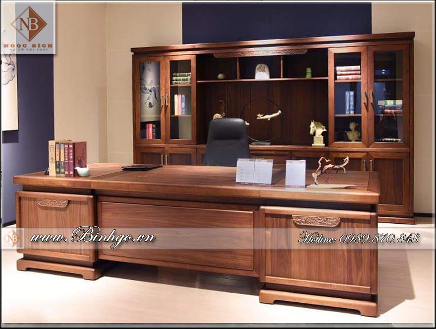 Bàn giám đốc gỗ tự nhiên mẫu hiện đại - làm bằng gỗ: Gõ Đỏ, Sơn PU. Kích thước: 262x127x81, 235x127x81