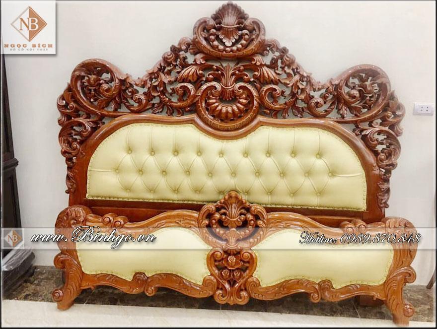 Giường ngủ tân cổ điển gỗ Gõ Đỏ