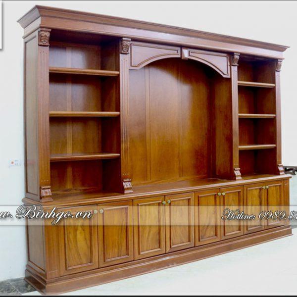 Tủ sách - Tủ tài liệu phòng Giám Đốc gỗ Gõ Đỏ. Sản phẩm có kích thước KT: 335x260x48cm. Đây là mẫu tủ tài liệu vip bậc nhất hiện nay, được thiết kế theo phong cách Tủ Tài Liệu Tân Cổ Điển.