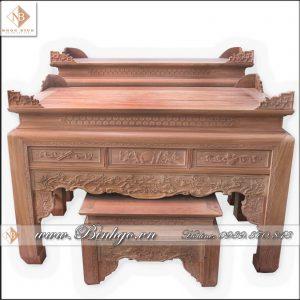 Bàn thờ Nhị Cấp mẫu Sen, Kích thước: Dài 217x Rộng 107X Cao 127cm, Chất liệu: Gỗ Gõ Đỏ, Sơn PU cao cấp