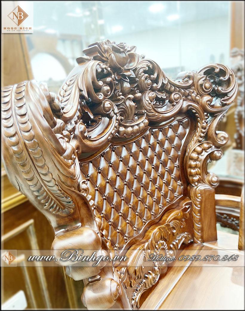 Ghế đơn của bộ Sofa Tân Cổ điển gõ Cẩm Lai nhập khẩu. Trong bộ