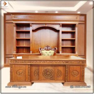 Tủ tài liệu và bàn Giám Đốc mẫu tân cổ điển gỗ Gõ Đỏ. Tủ kích thước: 335x262x48cm.