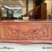 Bàn Giám Đốc Tân Cổ điển gỗ Gõ đỏ. Kích thước: 217x89x77cm.