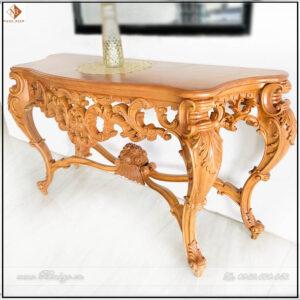 Bàn trang trí bán nguyệt phòng khách. Kích thước: 155x50x86cm. Sản phẩm thuộc phân khúc bàn trang trí cao cấp mẫu tân cổ điển