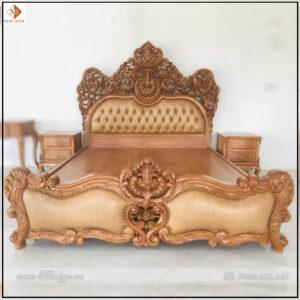 Giường ngủ tân cổ điển gỗ Gõ Đỏ năm 2022