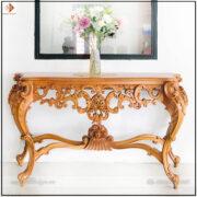 kệ trang trí phòng khách gỗ Gõ Đỏ mẫu Tân cổ điển