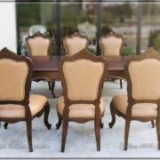 Bộ Sản phẩm bàn ghế ăn gồm: 01 bàn kt: 197x107x77cm. 06 ghế ăn tân cổ điển. Được Bộc Da Bò Italy nhập khẩu cao cấp